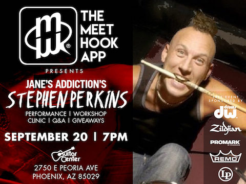 Jane\'s Addiction\'s Stephen Perkins FREE Drum Clinic For MeetHook App Launch